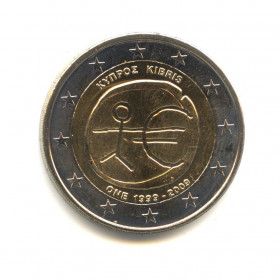 2 евро 2009 — 10-летие монетарной политики ЕС (EMU) ивведения евро (Юбилейная монета) — Кипр