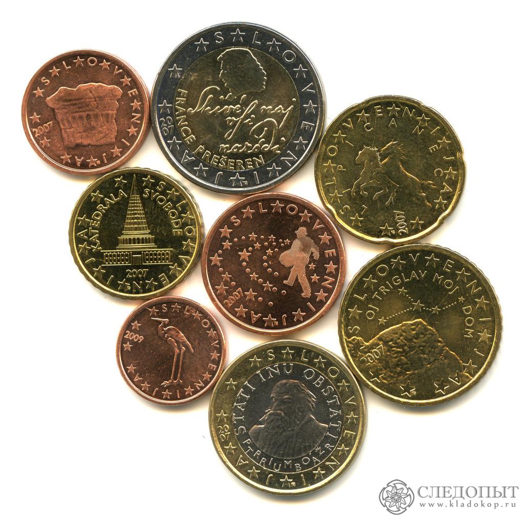 Словения— набор из8 монет евро (разные годы) UNC