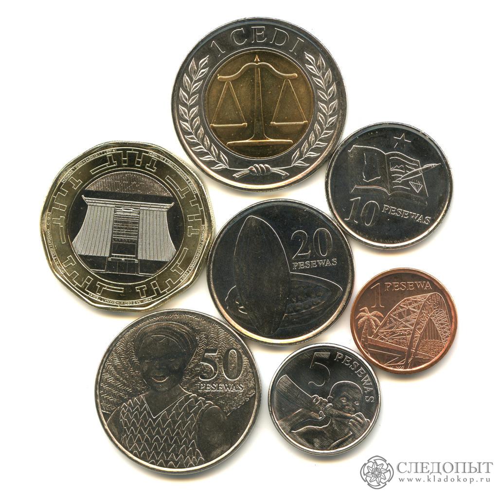 Гана— набор из7 монет (разные годы)
